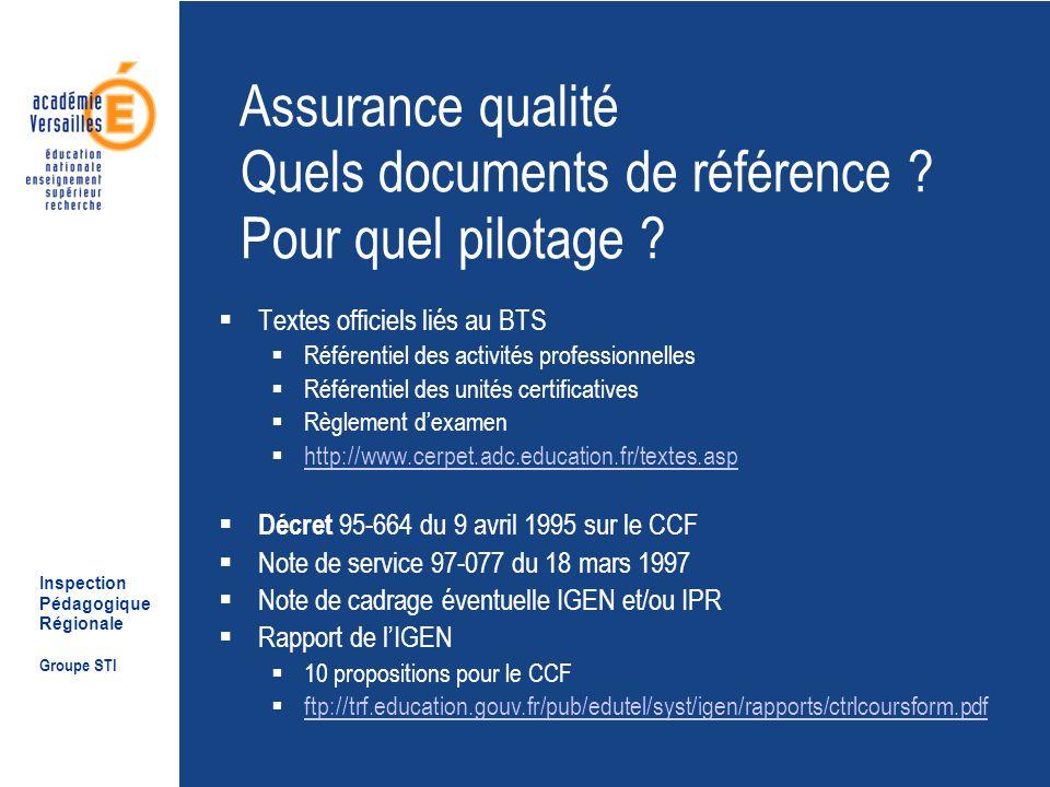 Inspection Pédagogique Régionale Groupe STI Assurance qualité Quels documents de référence .