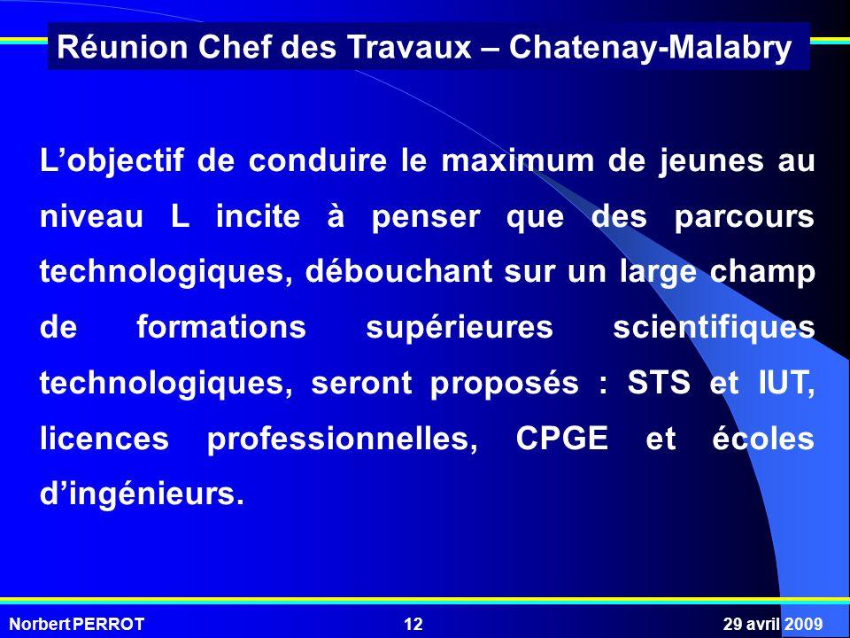 Norbert PERROT29 avril 200912 Réunion Chef des Travaux – Chatenay-Malabry Lobjectif de conduire le maximum de jeunes au niveau L incite à penser que d