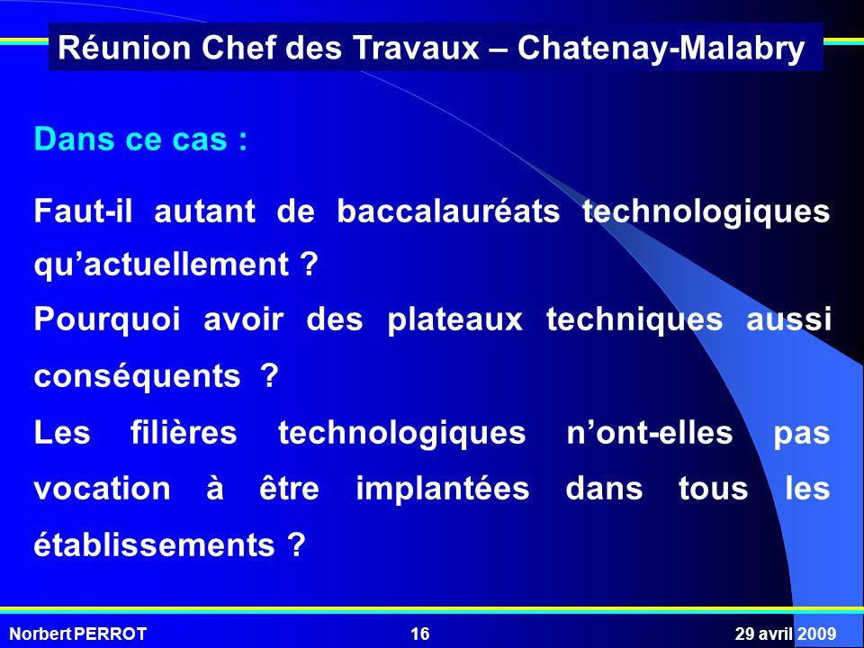 Norbert PERROT29 avril 200916 Réunion Chef des Travaux – Chatenay-Malabry Dans ce cas : Faut-il autant de baccalauréats technologiques quactuellement