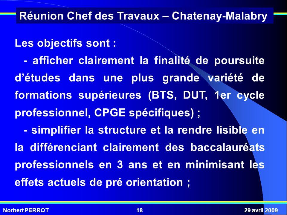 Norbert PERROT29 avril 200918 Réunion Chef des Travaux – Chatenay-Malabry Les objectifs sont : - afficher clairement la finalité de poursuite détudes