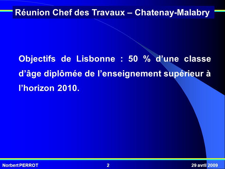 Norbert PERROT29 avril 20092 Réunion Chef des Travaux – Chatenay-Malabry Objectifs de Lisbonne : 50 % dune classe dâge diplômée de lenseignement supérieur à lhorizon 2010.