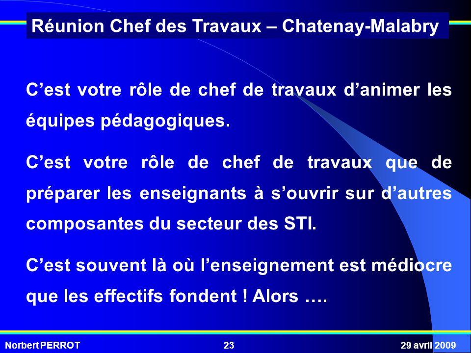 Norbert PERROT29 avril 200923 Réunion Chef des Travaux – Chatenay-Malabry Cest votre rôle de chef de travaux danimer les équipes pédagogiques. Cest vo