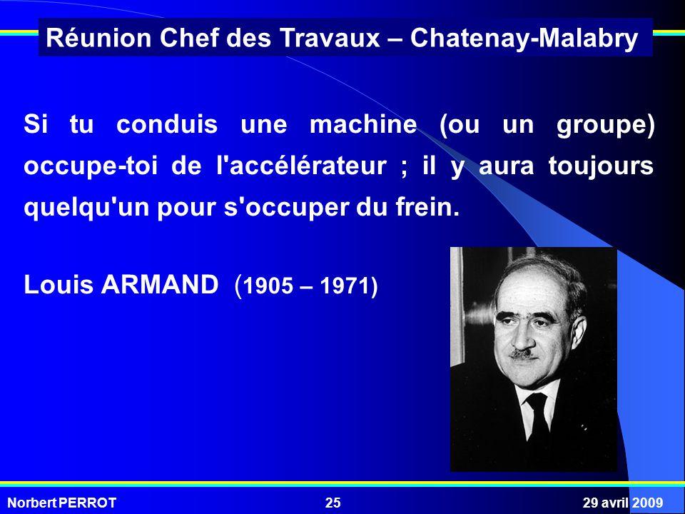 Norbert PERROT29 avril 200925 Réunion Chef des Travaux – Chatenay-Malabry Si tu conduis une machine (ou un groupe) occupe-toi de l'accélérateur ; il y