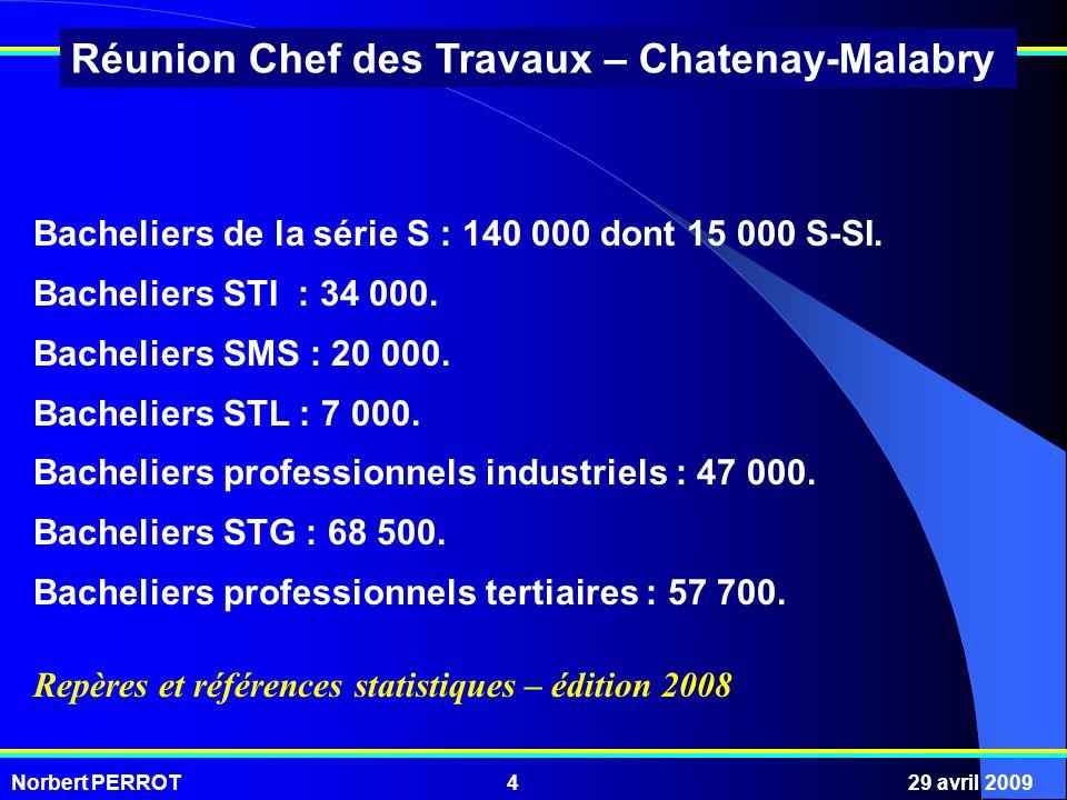 Norbert PERROT29 avril 20094 Réunion Chef des Travaux – Chatenay-Malabry Bacheliers de la série S : 140 000 dont 15 000 S-SI. Bacheliers STI : 34 000.