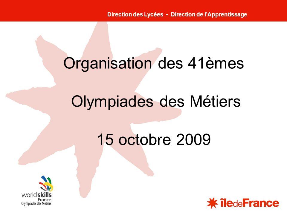 1 Organisation des 41èmes Olympiades des Métiers 15 octobre 2009 Direction des Lycées - Direction de lApprentissage