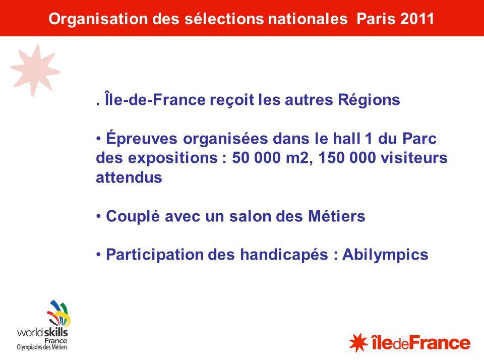 10 Organisation des sélections nationales Paris 2011. Île-de-France reçoit les autres Régions Épreuves organisées dans le hall 1 du Parc des expositio