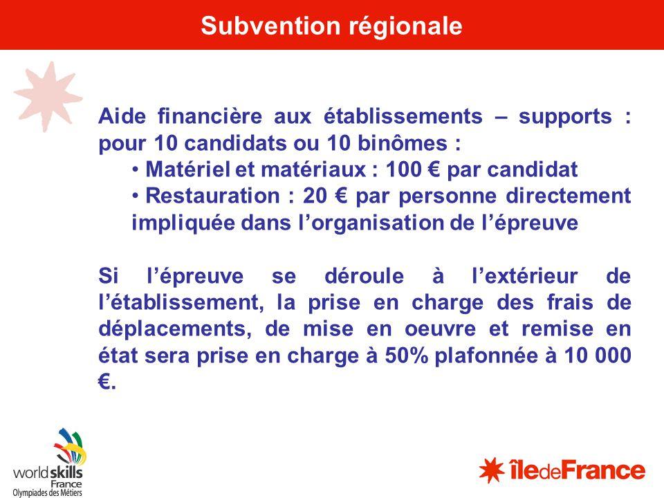 17 Subvention régionale Aide financière aux établissements – supports : pour 10 candidats ou 10 binômes : Matériel et matériaux : 100 par candidat Res