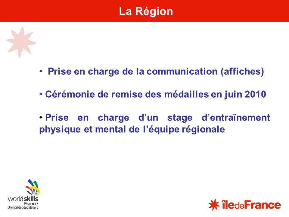 18 La Région Prise en charge de la communication (affiches) Cérémonie de remise des médailles en juin 2010 Prise en charge dun stage dentraînement phy