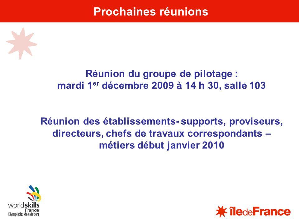 19 Prochaines réunions Réunion du groupe de pilotage : mardi 1 er décembre 2009 à 14 h 30, salle 103 Réunion des établissements- supports, proviseurs,