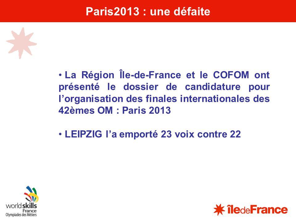 9 Paris2013 : une défaite La Région Île-de-France et le COFOM ont présenté le dossier de candidature pour lorganisation des finales internationales de