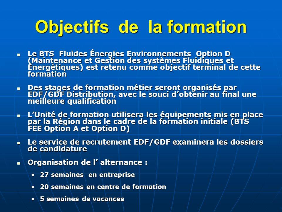 Objectifs de la formation Le BTS Fluides Énergies Environnements Option D (Maintenance et Gestion des systèmes Fluidiques et Énergétiques) est retenu