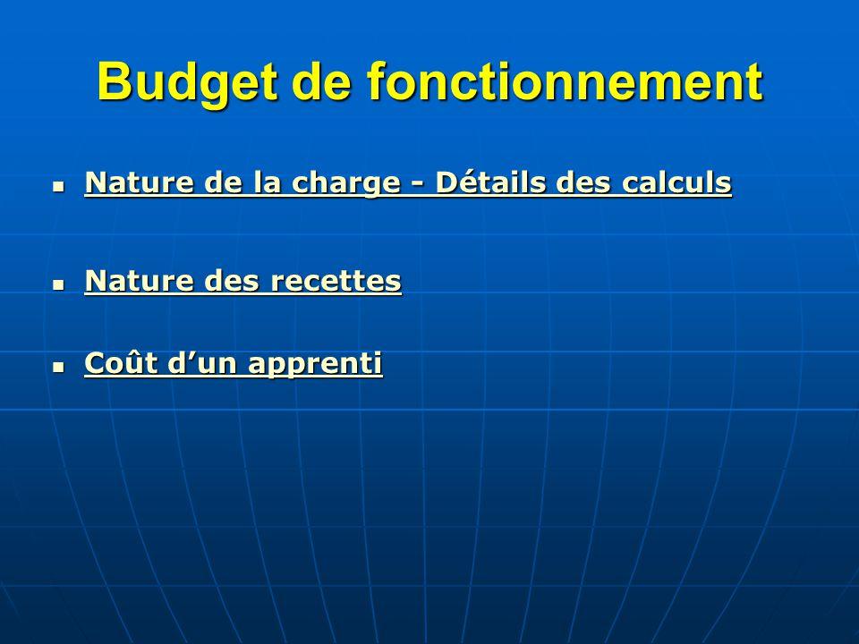 Budget de fonctionnement Nature de la charge - Détails des calculs Nature de la charge - Détails des calculs Nature de la charge - Détails des calculs