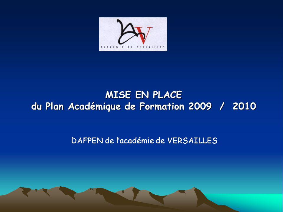 MISE EN PLACE du Plan Académique de Formation 2009 / 2010 DAFPEN de lacadémie de VERSAILLES