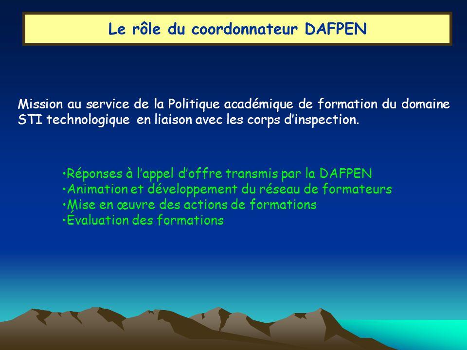 Le rôle du coordonnateur DAFPEN Mission au service de la Politique académique de formation du domaine STI technologique en liaison avec les corps dinspection.
