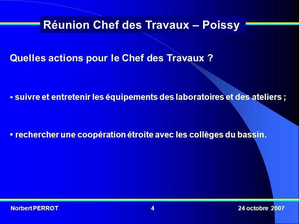 Norbert PERROT 24 octobre 20075 Réunion Chef des Travaux – Poissy Comment décliner ces actions sur le terrain dans le contexte actuel .