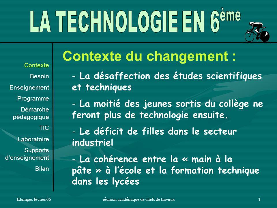 Etampes fèvrier 06réunion académique de chefs de travaux1 Contexte du changement : - La désaffection des études scientifiques et techniques - La moitié des jeunes sortis du collège ne feront plus de technologie ensuite.