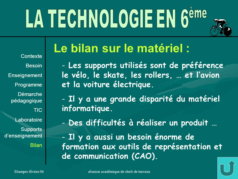 Etampes fèvrier 06réunion académique de chefs de travaux19 Le bilan sur le matériel : - Les supports utilisés sont de préférence le vélo, le skate, les rollers, … et lavion et la voiture électrique.