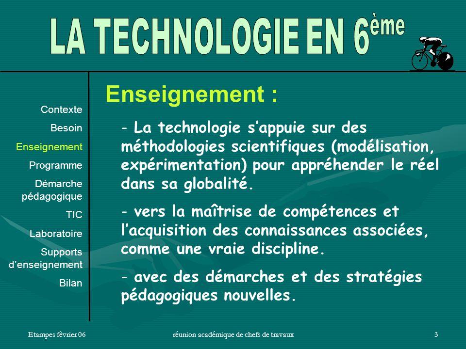 Etampes fèvrier 06réunion académique de chefs de travaux3 Enseignement : - La technologie sappuie sur des méthodologies scientifiques (modélisation, expérimentation) pour appréhender le réel dans sa globalité.