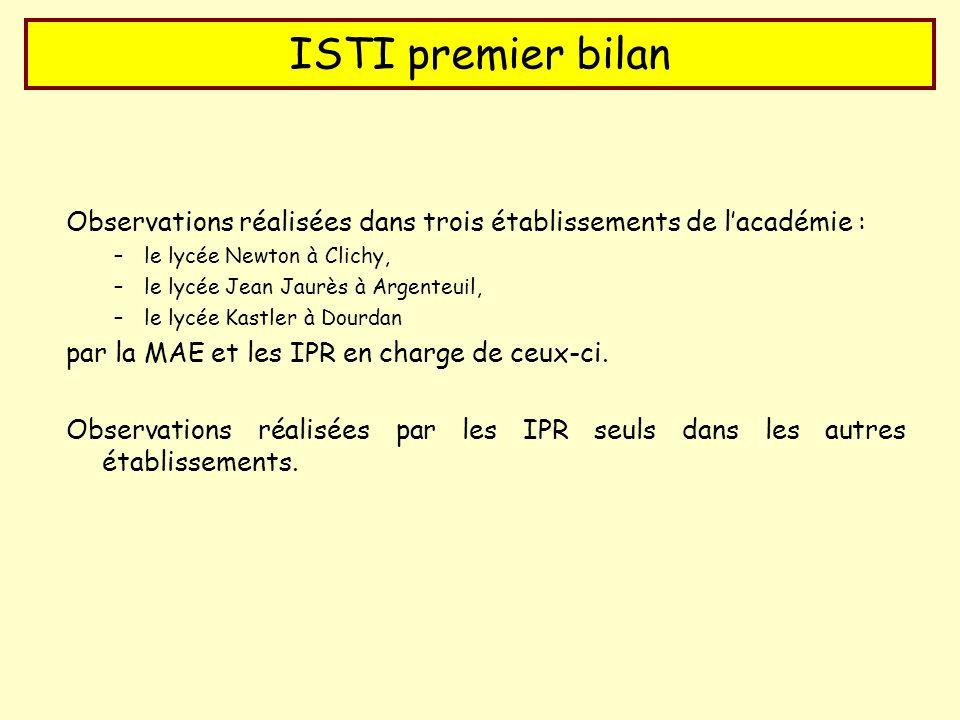 ISTI premier bilan Observations réalisées dans trois établissements de lacadémie : –le lycée Newton à Clichy, –le lycée Jean Jaurès à Argenteuil, –le lycée Kastler à Dourdan par la MAE et les IPR en charge de ceux-ci.