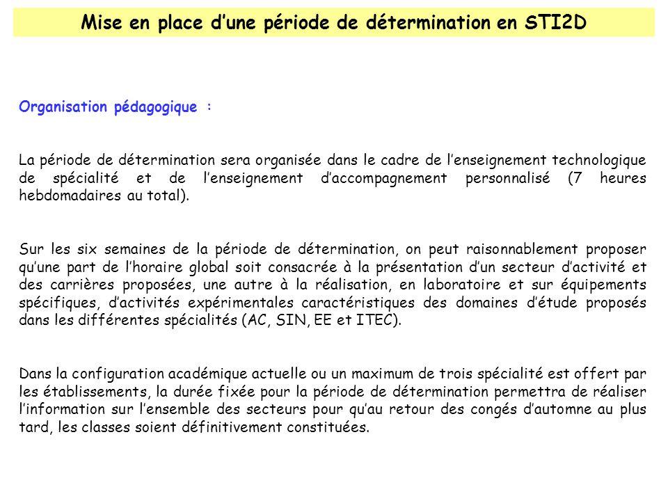 Mise en place dune période de détermination en STI2D Organisation pédagogique : La période de détermination sera organisée dans le cadre de lenseignement technologique de spécialité et de lenseignement daccompagnement personnalisé (7 heures hebdomadaires au total).