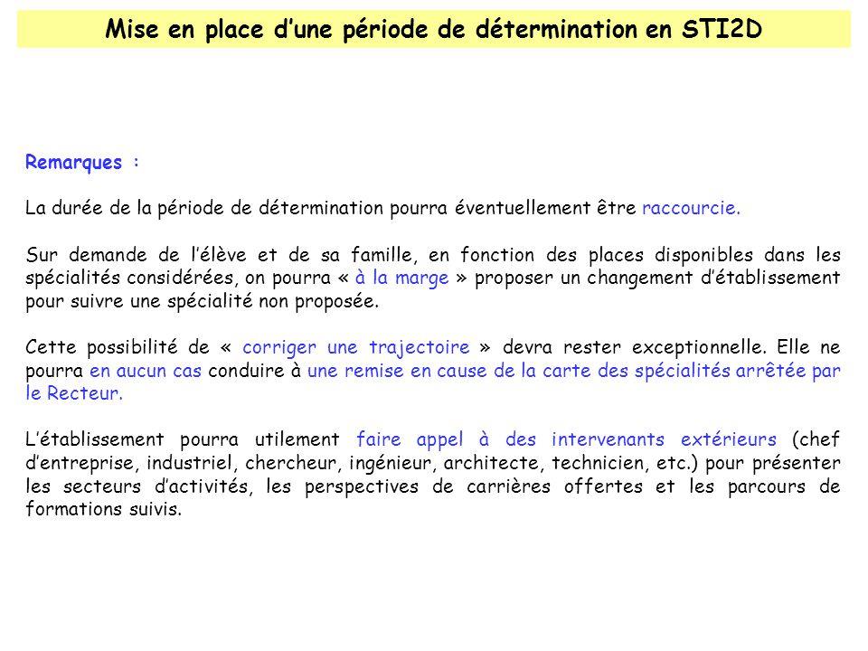 Mise en place dune période de détermination en STI2D Remarques : La durée de la période de détermination pourra éventuellement être raccourcie.