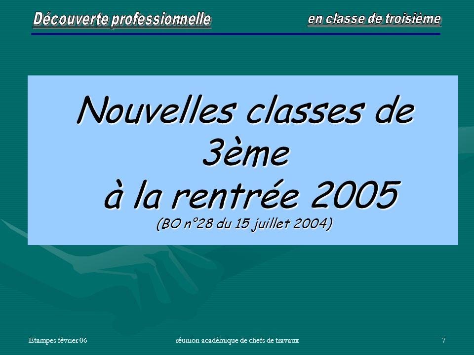 Etampes fèvrier 06réunion académique de chefs de travaux7 Nouvelles classes de 3ème à la rentrée 2005 (BO n°28 du 15 juillet 2004)