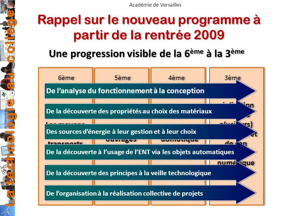 La technologie au collège Académie de Versailles Rappel sur le nouveau programme à partir de la rentrée 2009 Une progression visible de la 6 ème à la