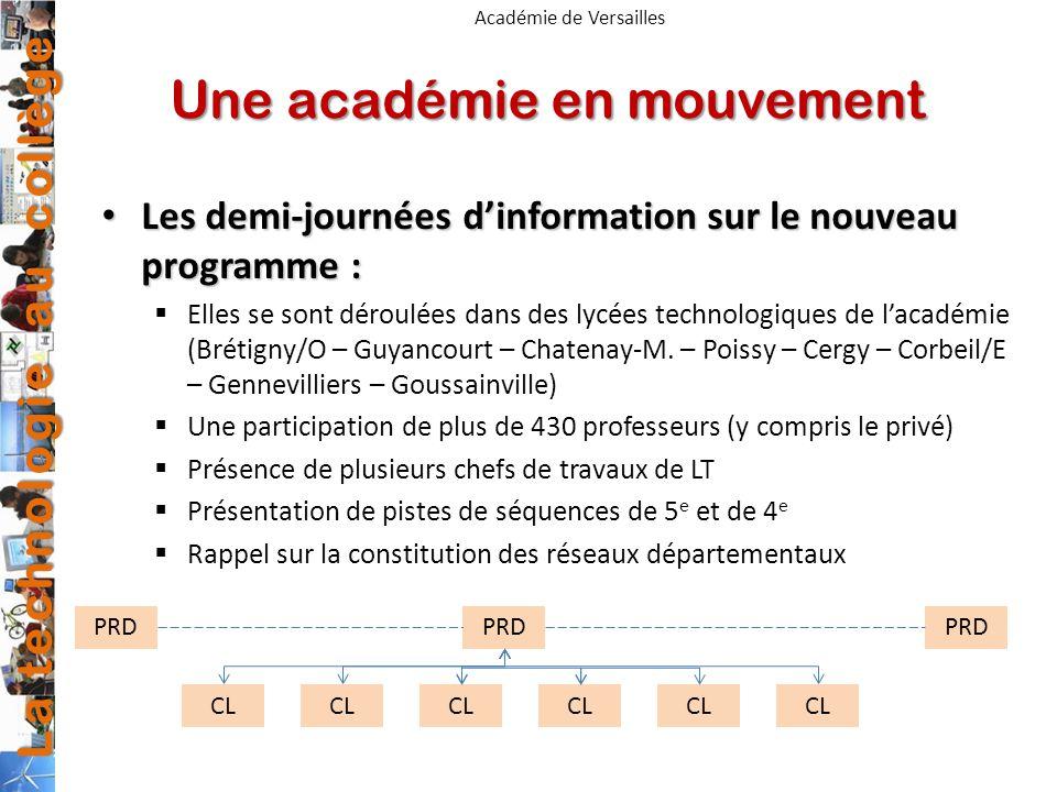 La technologie au collège Académie de Versailles Une académie en mouvement Les demi-journées dinformation sur le nouveau programme : Les demi-journées