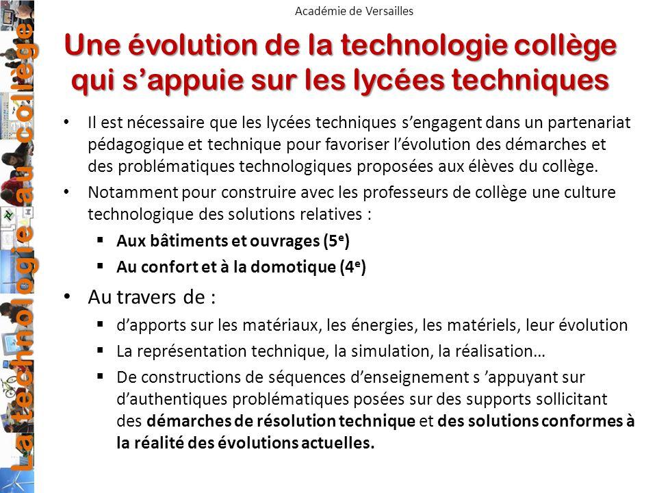 La technologie au collège Académie de Versailles Une évolution de la technologie collège qui sappuie sur les lycées techniques Il est nécessaire que l