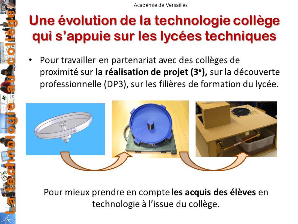 La technologie au collège Académie de Versailles Une évolution de la technologie collège qui sappuie sur les lycées techniques Pour travailler en part