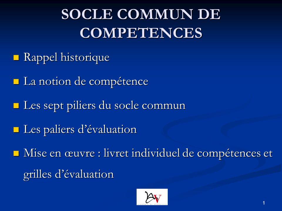 1 SOCLE COMMUN DE COMPETENCES Rappel historique Rappel historique La notion de compétence La notion de compétence Les sept piliers du socle commun Les