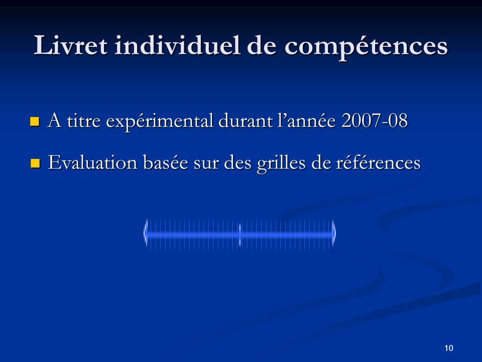 10 Livret individuel de compétences A titre expérimental durant lannée 2007-08 A titre expérimental durant lannée 2007-08 Evaluation basée sur des gri