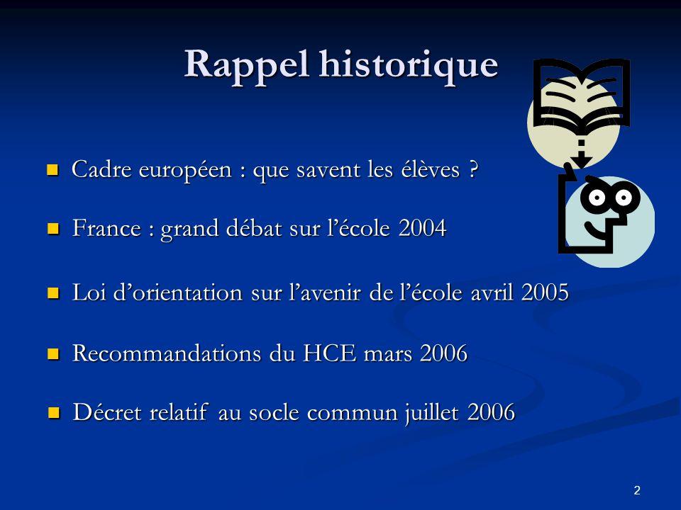 2 Rappel historique Cadre européen : que savent les élèves ? Cadre européen : que savent les élèves ? France : grand débat sur lécole 2004 France : gr