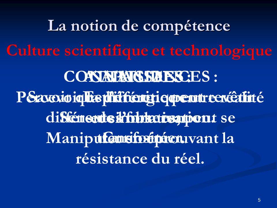 5 La notion de compétence Culture scientifique et technologique CONNAISSANCES : Savoir que lénergie peut revêtir différentes formes, peut se transform
