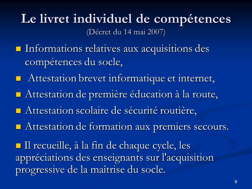 9 Le livret individuel de compétences (Décret du 14 mai 2007) Informations relatives aux acquisitions des compétences du socle, Informations relatives