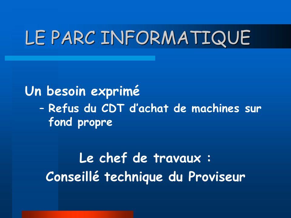 LE PARC INFORMATIQUE Un besoin exprimé –Refus du CDT dachat de machines sur fond propre Le chef de travaux : Conseillé technique du Proviseur