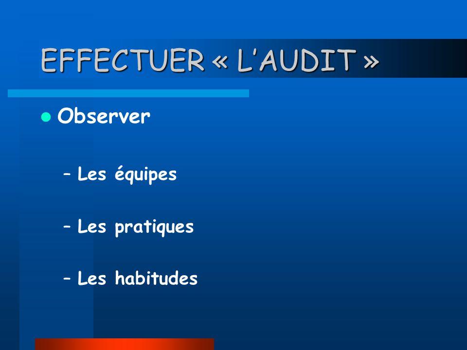 EFFECTUER « LAUDIT » Observer –Les équipes –Les pratiques –Les habitudes