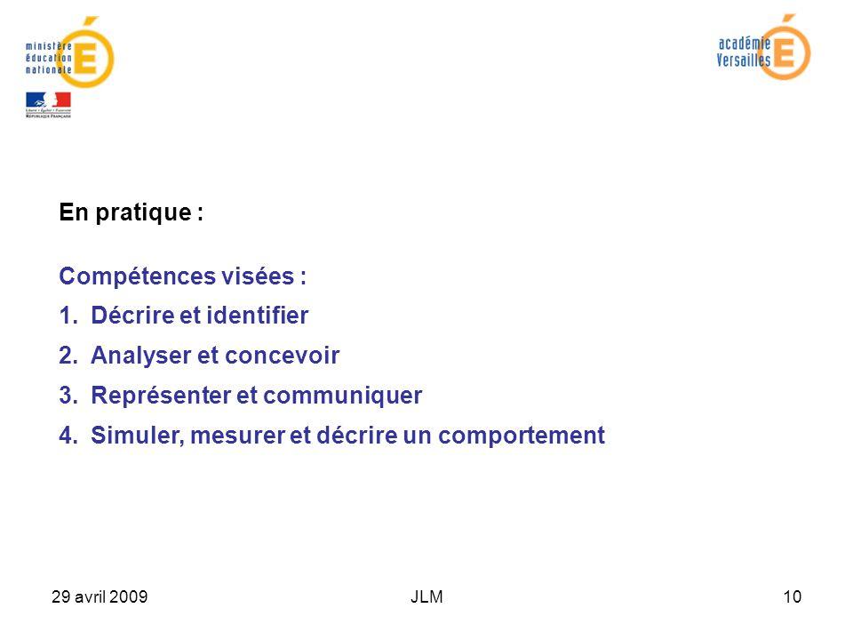 29 avril 2009JLM10 En pratique : Compétences visées : 1.Décrire et identifierDécrire et identifier 2.Analyser et concevoirAnalyser et concevoir 3.Représenter et communiquerReprésenter et communiquer 4.Simuler, mesurer et décrire un comportementSimuler, mesurer et décrire un comportement