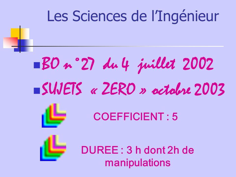 Les Sciences de lIngénieur BO n°27 du 4 juillet 2002 SUJETS « ZERO » octobre 2003 COEFFICIENT : 5 DUREE : 3 h dont 2h de manipulations