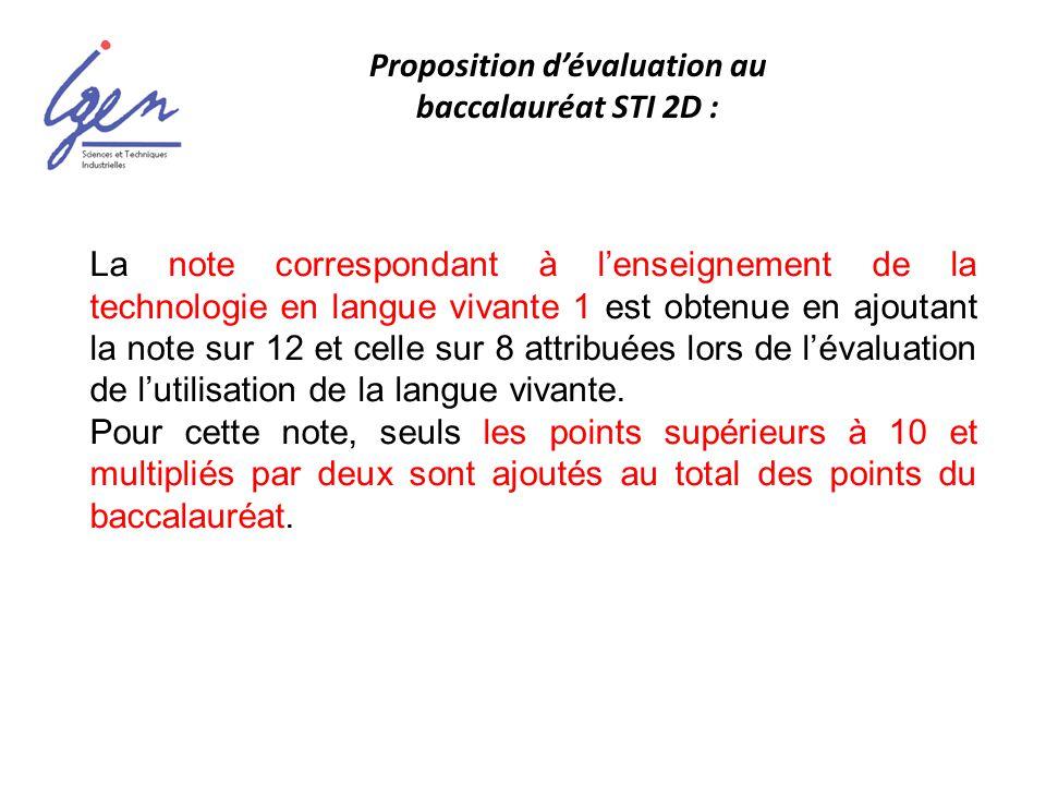 La note correspondant à lenseignement de la technologie en langue vivante 1 est obtenue en ajoutant la note sur 12 et celle sur 8 attribuées lors de l