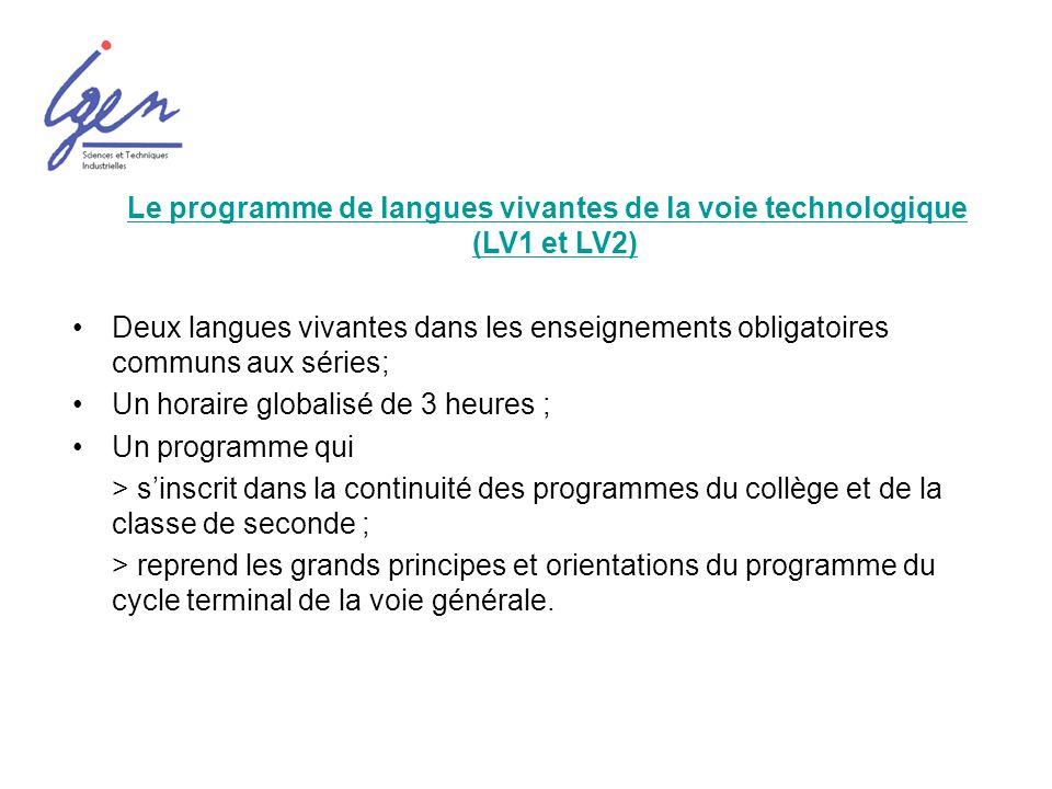 Le programme de langues vivantes de la voie technologique (LV1 et LV2)Le programme de langues vivantes de la voie technologique (LV1 et LV2) Deux lang