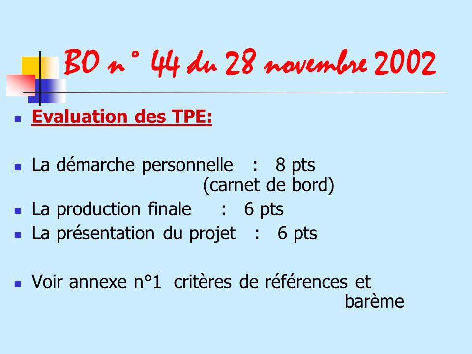 BO n° 44 du 28 novembre 2002 Evaluation des TPE: La démarche personnelle : 8 pts (carnet de bord) La production finale : 6 pts La présentation du proj