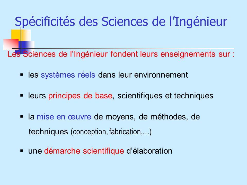 Spécificités des Sciences de lIngénieur Les Sciences de lIngénieur fondent leurs enseignements sur : les systèmes réels dans leur environnement leurs