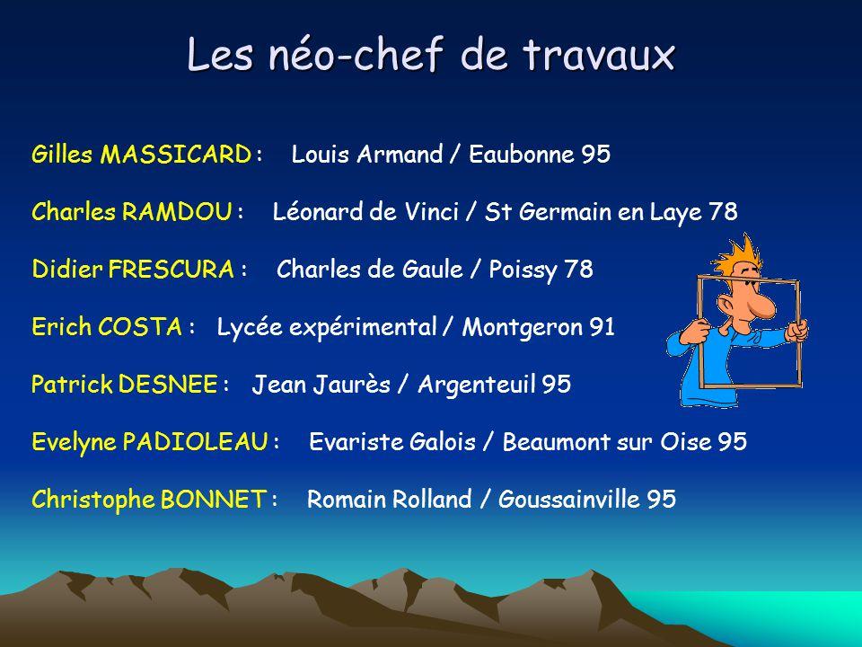 Les néo-chef de travaux Gilles MASSICARD : Louis Armand / Eaubonne 95 Charles RAMDOU : Léonard de Vinci / St Germain en Laye 78 Didier FRESCURA : Char