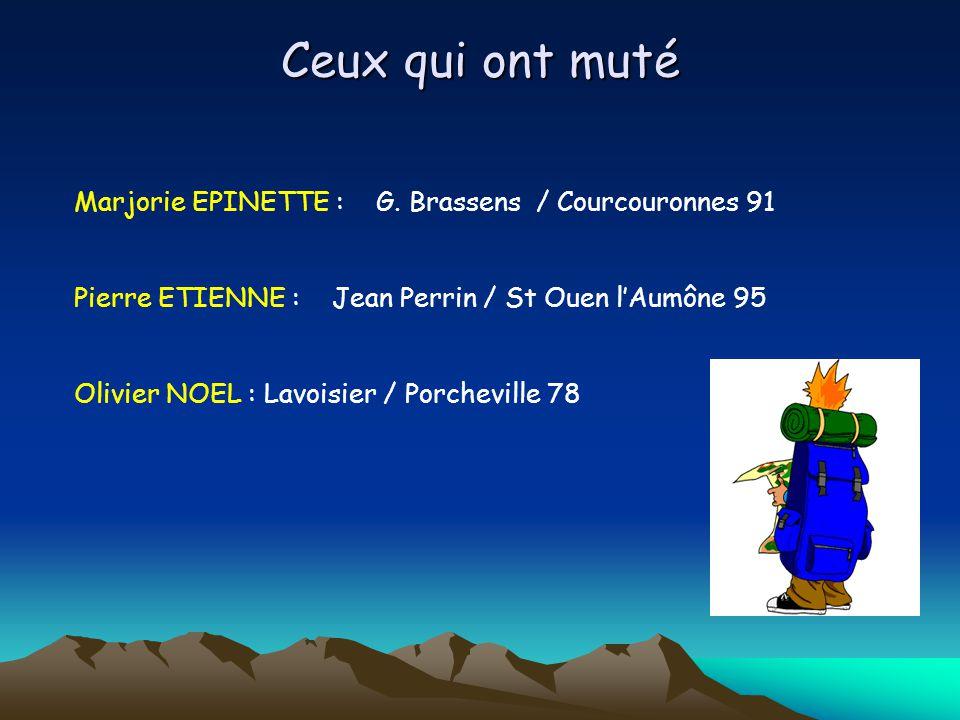Ceux qui ont muté Marjorie EPINETTE : G. Brassens / Courcouronnes 91 Pierre ETIENNE : Jean Perrin / St Ouen lAumône 95 Olivier NOEL : Lavoisier / Porc