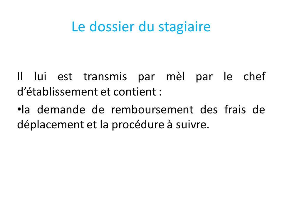 Le dossier du stagiaire Il lui est transmis par mèl par le chef détablissement et contient : la demande de remboursement des frais de déplacement et la procédure à suivre.
