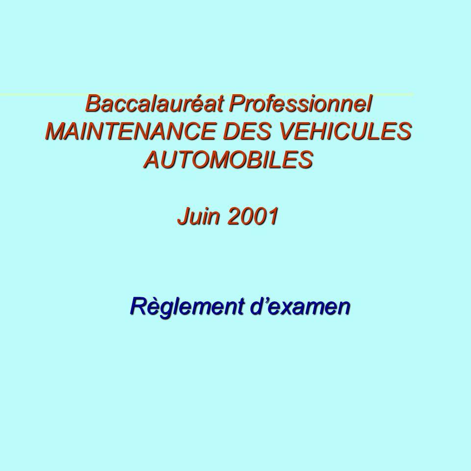 Baccalauréat Professionnel MAINTENANCE DES VEHICULES AUTOMOBILES Juin 2001 Règlement dexamen