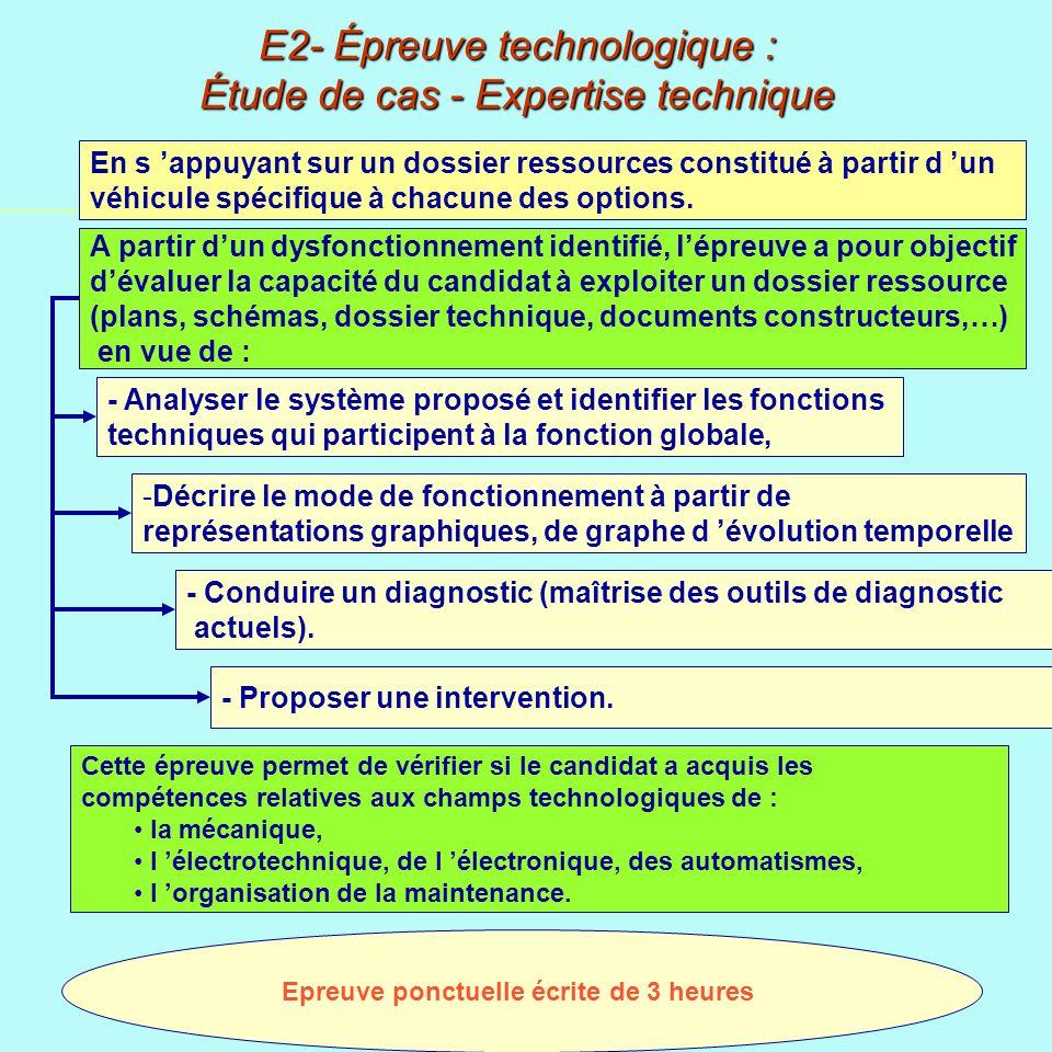 E2- Épreuve technologique : Étude de cas - Expertise technique Epreuve ponctuelle écrite de 3 heures - Analyser le système proposé et identifier les fonctions techniques qui participent à la fonction globale, - -Décrire le mode de fonctionnement à partir de représentations graphiques, de graphe d évolution temporelle - Conduire un diagnostic (maîtrise des outils de diagnostic actuels).