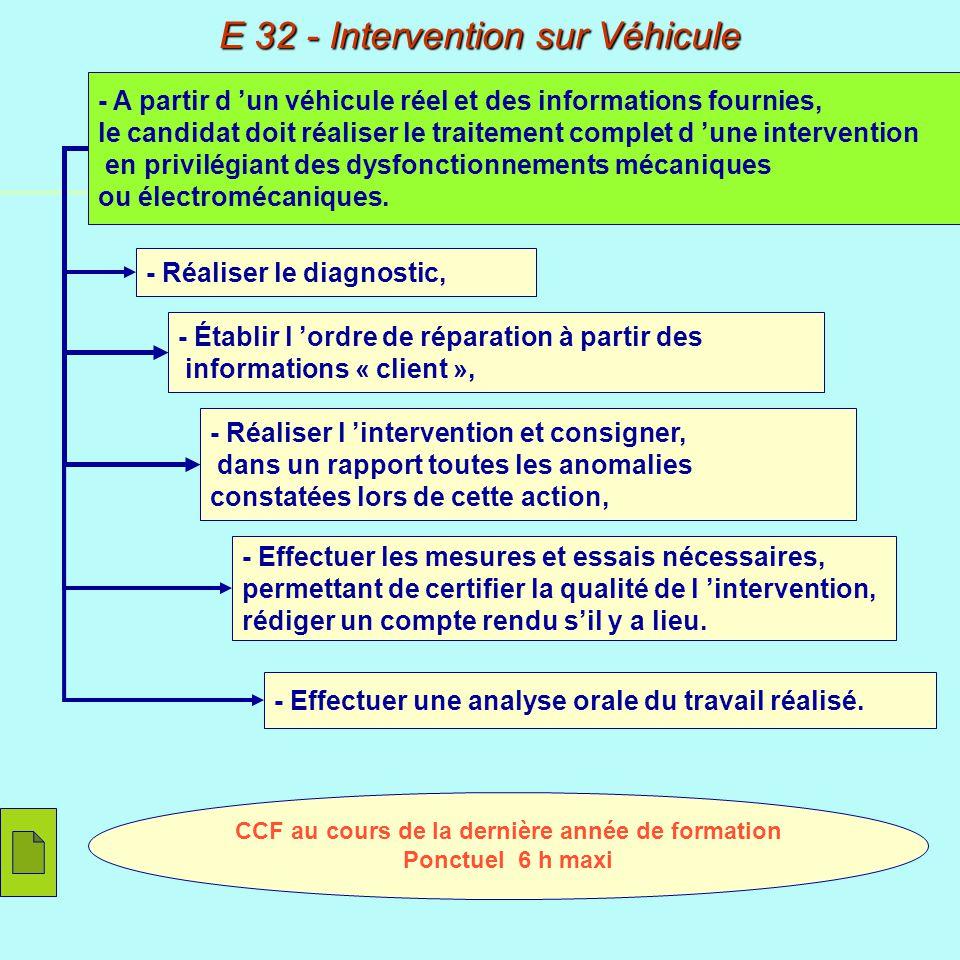 - Formuler des hypothèses et réaliser le diagnostic, CCF au cours de la dernière année de formation Ponctuel 6 h maxi - Justifier sous forme de compte rendu, la proposition d intervention réalisée, - Remettre en conformité le véhicule.