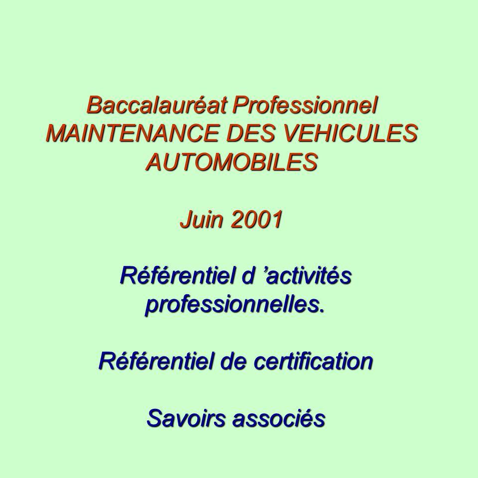 Baccalauréat Professionnel MAINTENANCE DES VEHICULES AUTOMOBILES Juin 2001 Référentiel d activités professionnelles. Référentiel de certification Savo